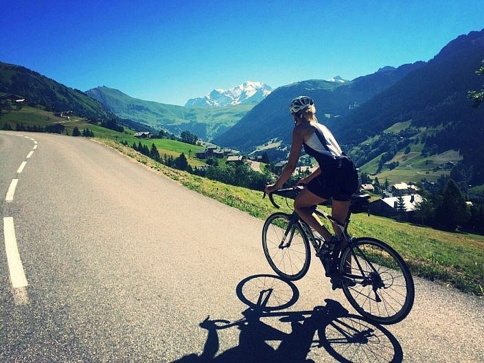 Cycling with views of Mt Blanc