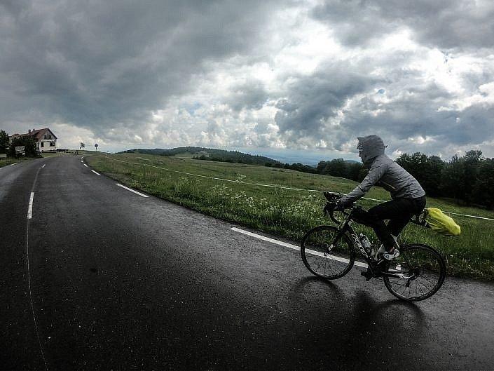Rainy summit on the Col du Ballon d'Alsace