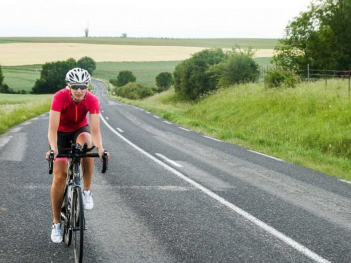 Riding through the arable lands of Northern France