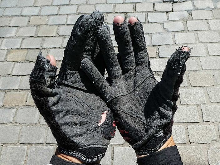 Gloves showing signs of the milage