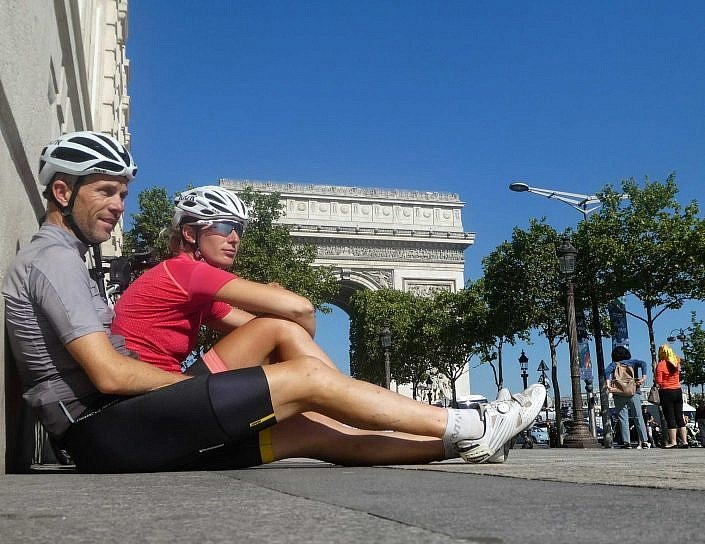 Relaxing at the finish line in Paris