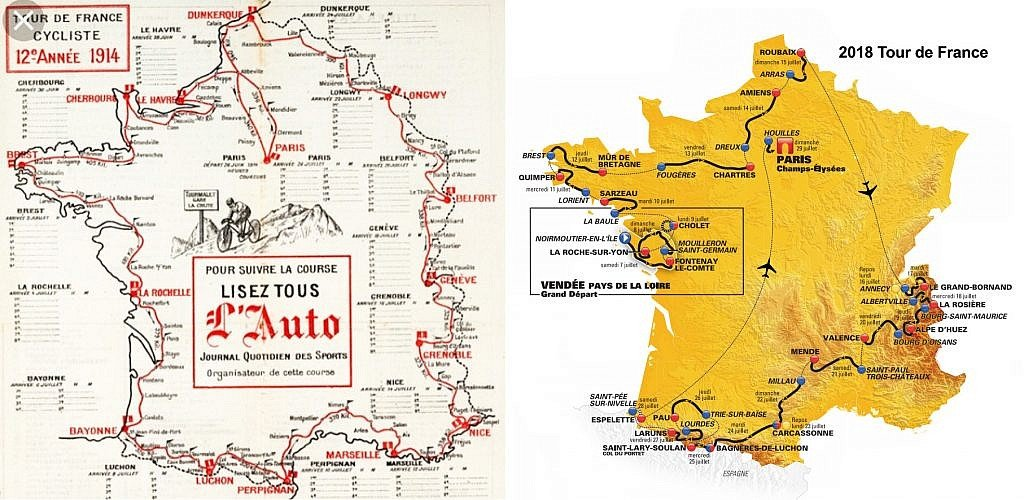 Map of the 1914 and 2018 Tour de France