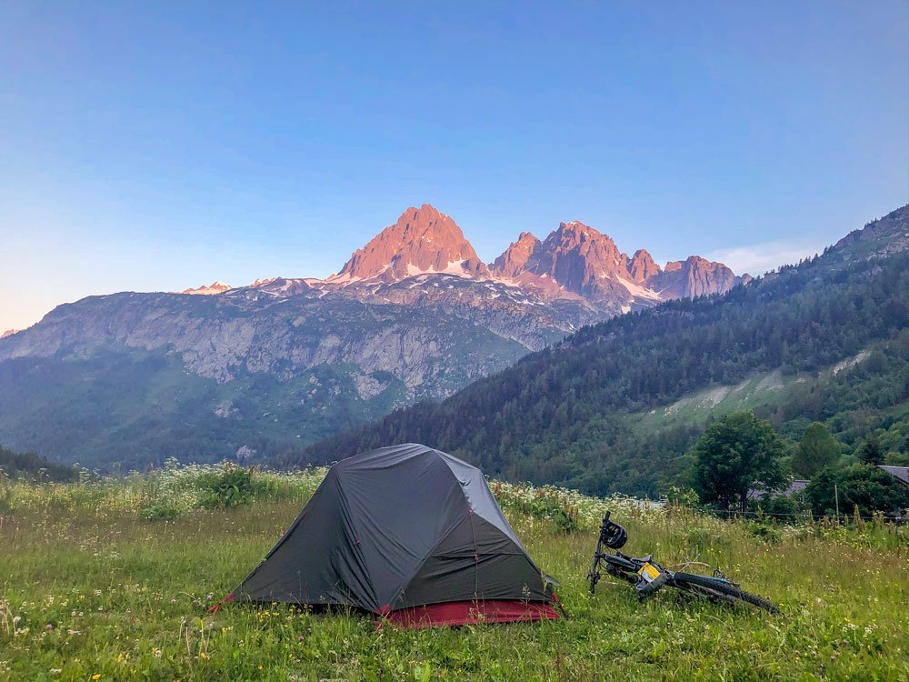Tent with mountain backdrop