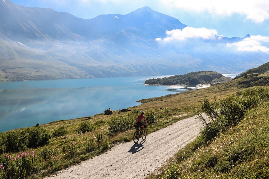 Cyclist on gravel road